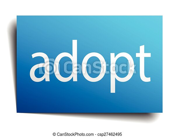 adopt blue square isolated paper sign on white - csp27462495