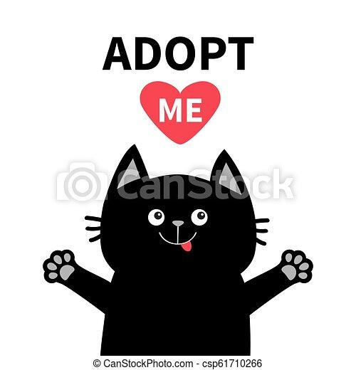 Adopt Me Black Cat Face Silhouette Reds Heart Pet Adoption