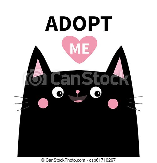 Adopt Me Dont Buy Black Cat Face Silhouette Pink Heart Pet