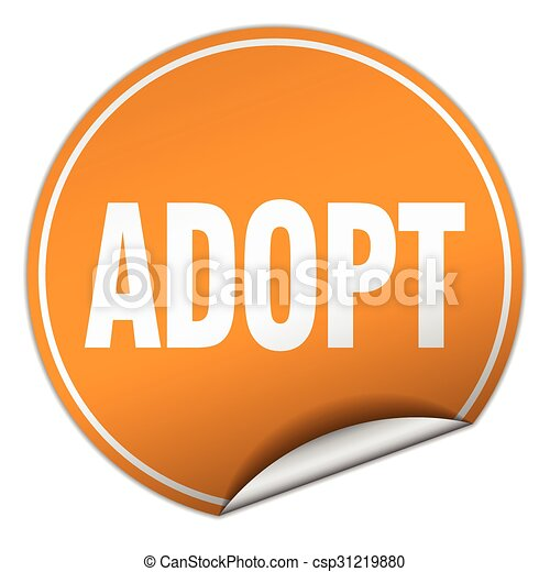 adopt round orange sticker isolated on white - csp31219880