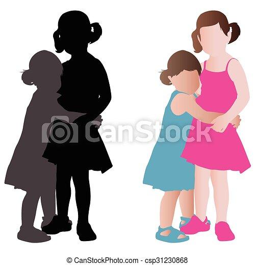 adorável, garotinhas, dois, abraçando - csp31230868