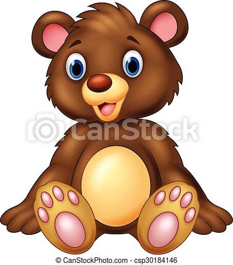 adorável, urso teddy, sentando - csp30184146