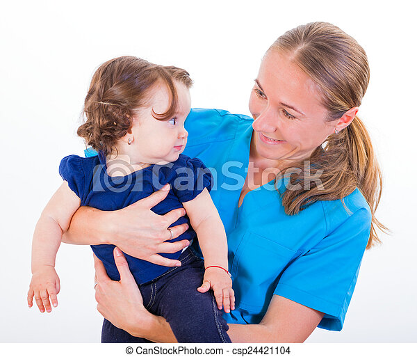 Adorable baby and babysitter - csp24421104