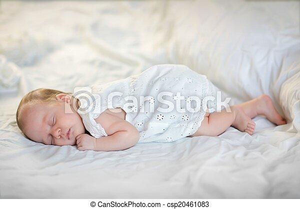 Adorable baby girl sleeping - csp20461083