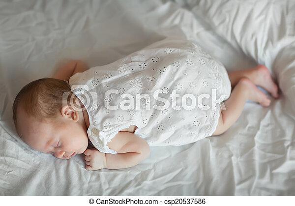 Adorable baby girl sleeping - csp20537586