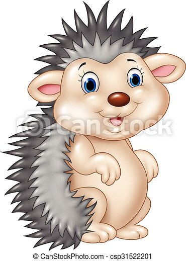 Adorable baby hedgehog sitting  - csp31522201