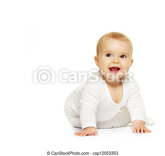 Adorable baby isolated on white - csp12053353