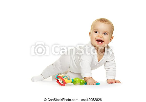 Adorable baby isolated on white background - csp12052826