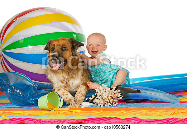 Adorable baby with dog - csp10563274