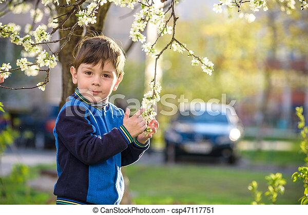 b4de21c0e79f Adorable blonde kid boy portrait in blooming cherry garden