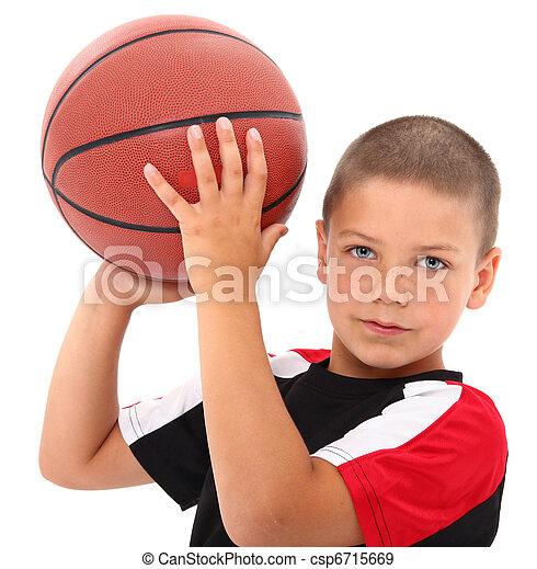 Adorable Boy Child Basketball Player in Uniform  - csp6715669