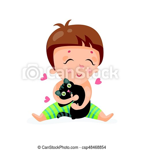 Adorable Cartoon Toddler Baby Hugging A Black Kitten Colorful - Toddler-cartoon-characters