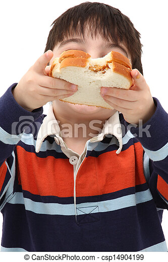 Adorable Caucasian Boy Child Eating - csp14904199