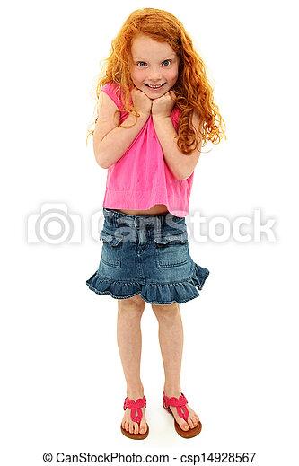 Adorable Caucasian Redhead Girl Child Surprised Expression - csp14928567