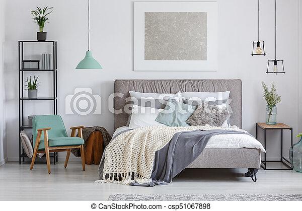 adorable, chaise, menthe, chambre à coucher