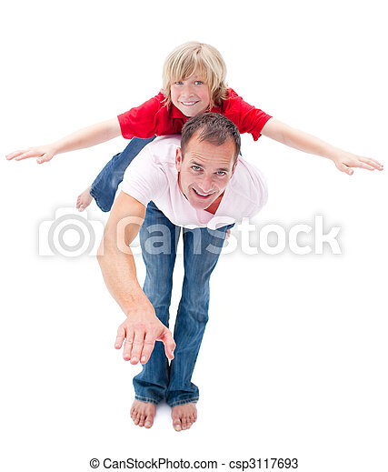 Adorable child enjoying piggyback ride with his father - csp3117693