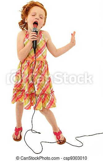 Adorable Child Singing into Microphone - csp9303010
