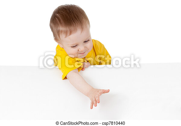 adorable child with blank advertising banner - csp7810440