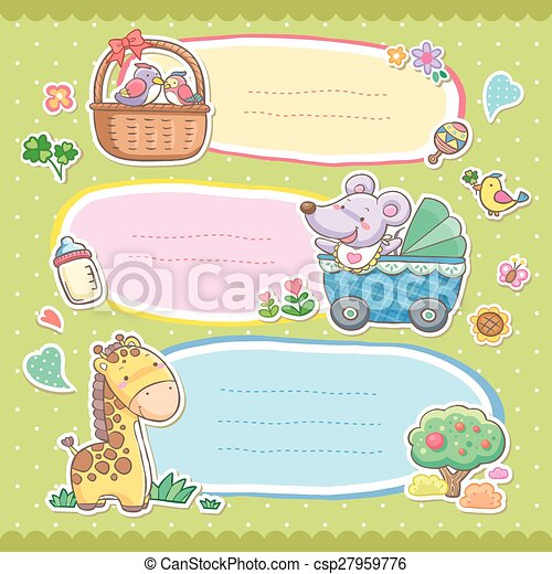 adorable colorful animals memo set - csp27959776
