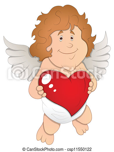 Adorable Cupid with Heart Vector - csp11550122