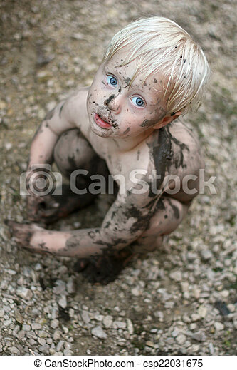 Adorable Dirty Baby Child Looking at Camera - csp22031675