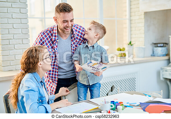 Adorable Family Celebrating Fathers Day - csp58232963