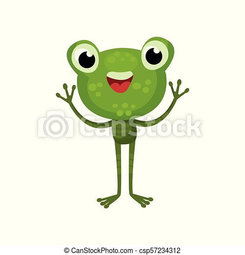 Adorable frog with cheerful face expression. Cartoon character of friendly green toad with paws up. Flat vector for children book - csp57234312