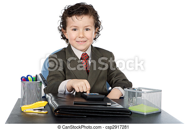 adorable future businessman in your office - csp2917281