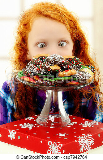 Adorable Girl Child Excited About Cookies - csp7942764