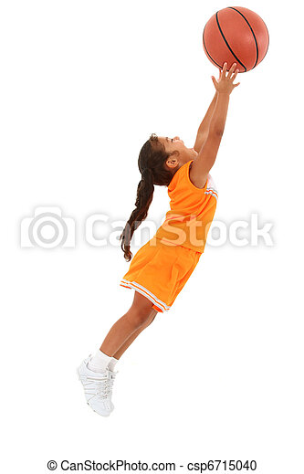 Adorable Girl Child in Uniform Jumping with Basketball - csp6715040