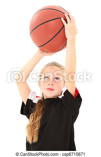 Adorable Girl Child Making Free Throw with Basketball - csp6715671