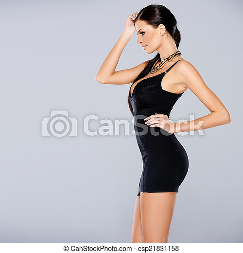 Adorable glamour woman in sexy dress - csp21831158