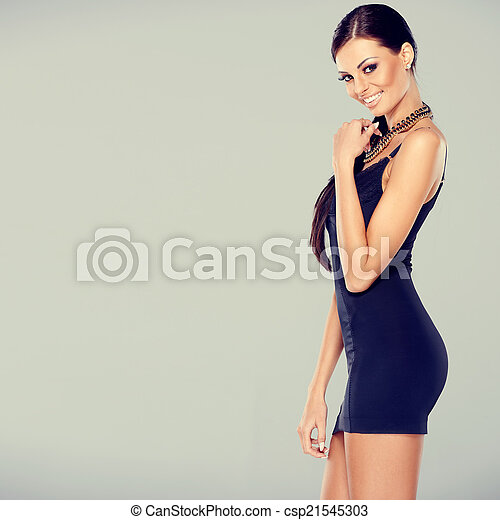 Adorable glamour woman in sexy dress - csp21545303