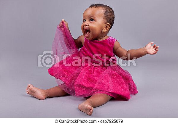 Adorable little african american baby girl  - csp7925079