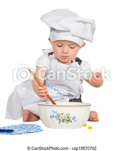 Adorable little baby chef. Adorable small baby chef dressed in an ... ec3b31038906