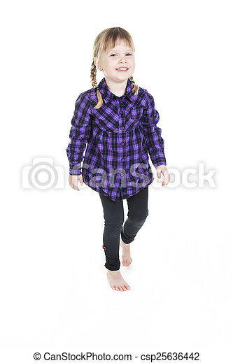 Adorable little girl isolated on white background - csp25636442