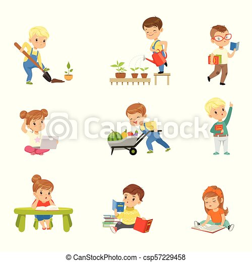 Adorable Little Kids Reading Books And Working In The Garden Set Cute Preschool Children Learning