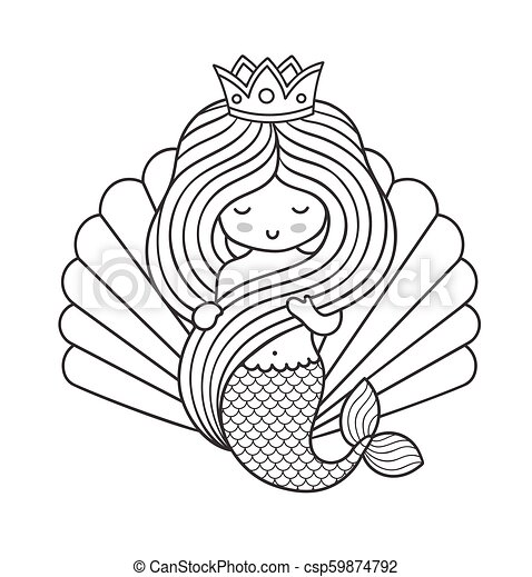 Adorable little princess mermaid, holding her long beautiful hair. - csp59874792