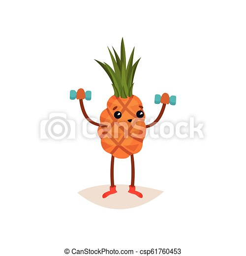 Adorable pineapple doing exercise with dumbbells. Funny tropical fruit. Active and healthy lifestyle theme. Flat vector icon - csp61760453