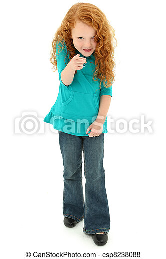 Adorable Preschool Girl Child Pointing Playfully Towards Camera - csp8238088