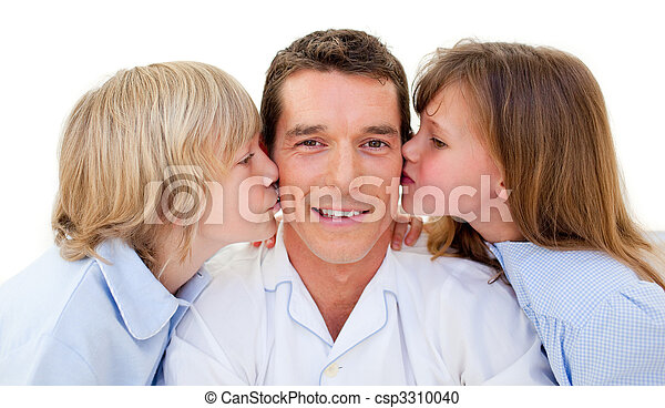 Adorable siblings kissing their father - csp3310040