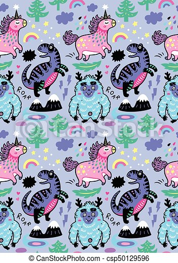 Adorable Wallpaper In The Childish Style With Unicorn Yeti Dino