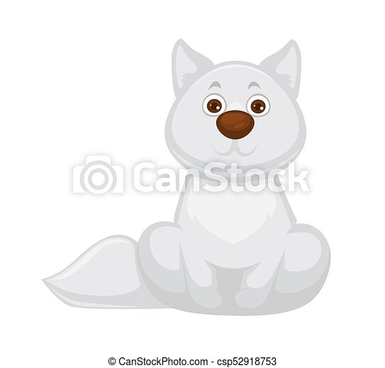 Adorable White Fox Baby With Big Brown Nose Straight Ears Long