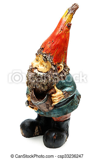 Great Adorable Wooden Garden Gnome With Watering Can   Csp33236247
