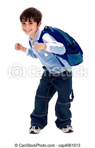 Adorable young kid holding his school bag - csp4061613