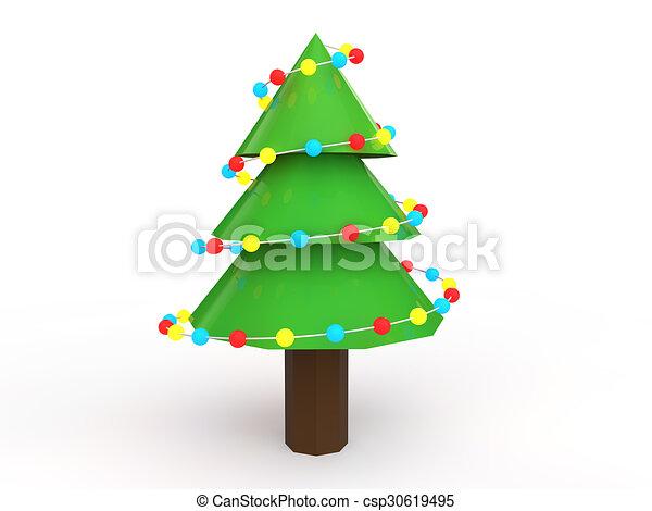 Adornado rbol navidad 3d rbol poly bajo adornado navidad 3d