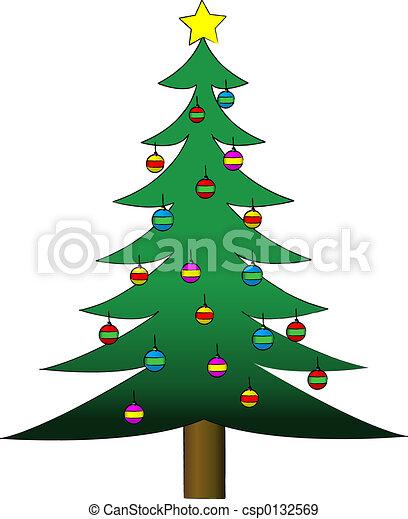 Árbol de Navidad decorado - csp0132569