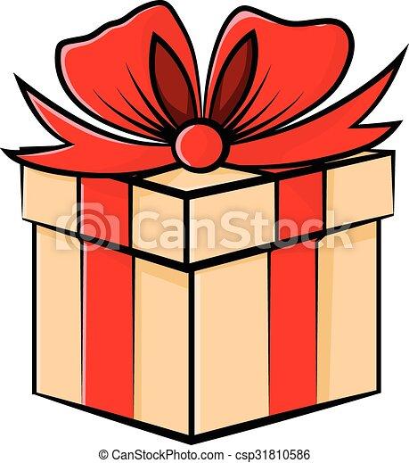 Regalo decorado con cinta roja - csp31810586