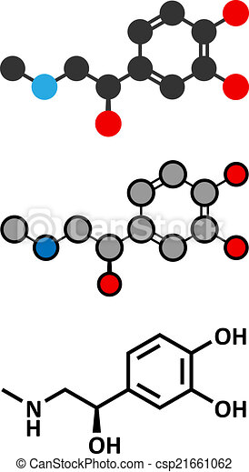 Adrenaline (adrenalin, epinephrine) neurotransmitter molecule. Used as drug in treatment of anaphylaxis - csp21661062
