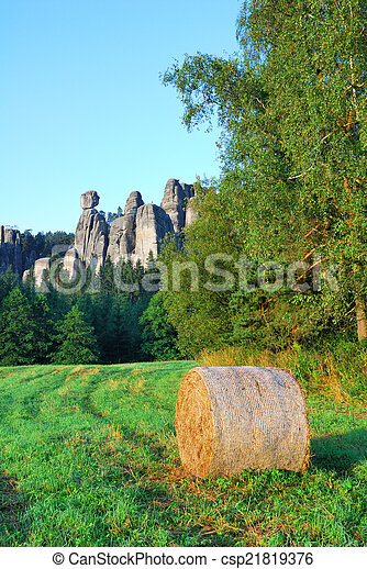 Adrspach sandstone towers with a bale of hay - csp21819376